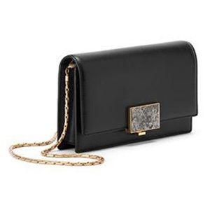 Sarah White Convertible Black Leather Clutch